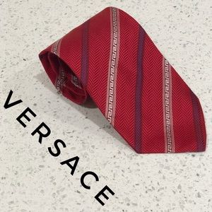 Versace Red White Striped Greek Key Silk Tie EUC